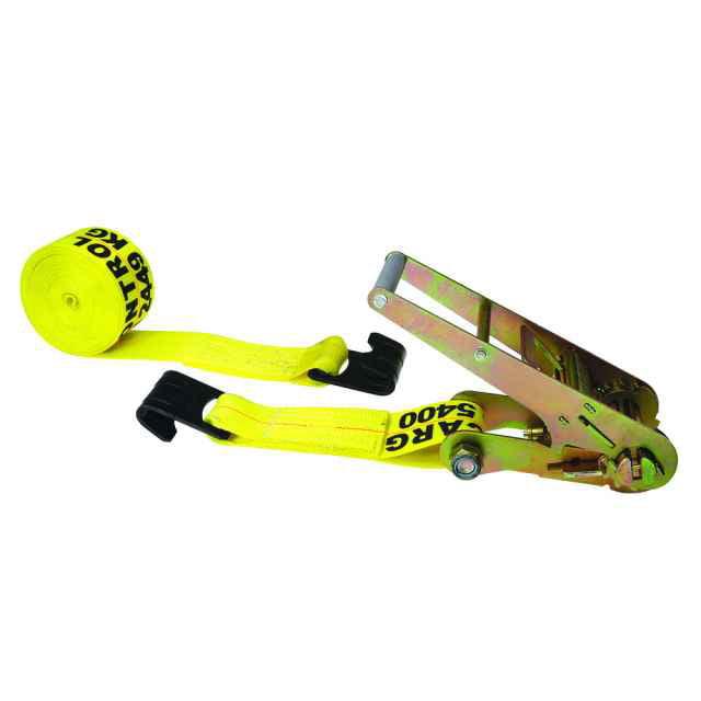 "3"" x 20' Yellow Ratchet Strap w/ Flat Hooks"