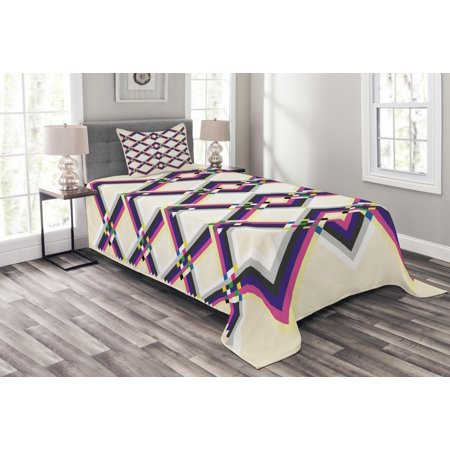 - Abstract Bedspread Set, Geometric Digital Pattern Square and Diamond Shaped Linked Figures Print, Decorative Quilted Coverlet Set with Pillow Shams Included, Magenta Cream Purple, by Ambesonne