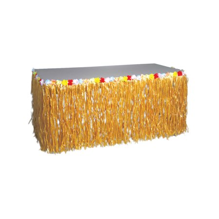 Natural Looking Grass Table Skirt Fringe Decoration Hawaiian Luau - Hawaiian Grass Table Skirts