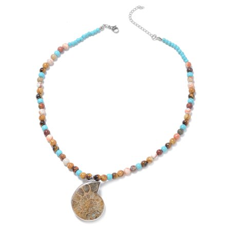 Ammonite Stainless Steel Pendant with Beads Necklace
