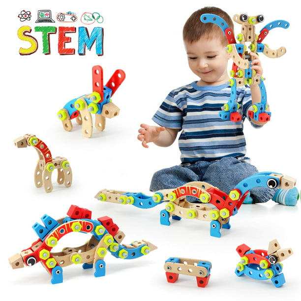 STEM Toy for 3 4 5 6 7 Year Olds Boy, 96 PCS Wooden ...