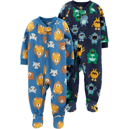 Child of Mine by Carter's Baby Toddler Boy Footed Microfleece Blanket Sleeper Pajamas, 2-Pack