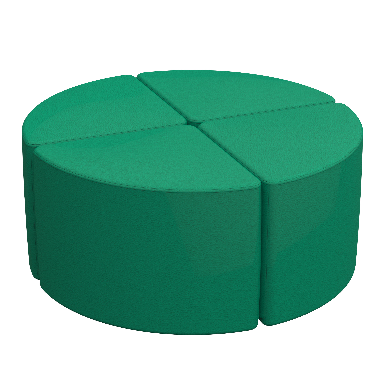 Furniture for Kids 2-Piece Set Standard 16 H, ECR4Kids Softzone Pie Ottoman Assorted