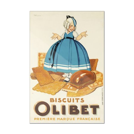 Biscuit Acrylic - Biscuits Olibet Vintage Poster (artist: Vincent) France c. 1933 (8x12 Acrylic Wall Art Gallery Quality)