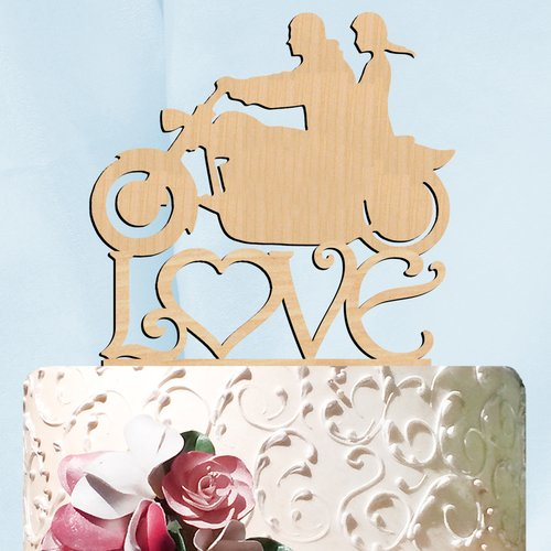 aMonogram Art Unlimited Harley His and Her Love Wooden Cake Topper