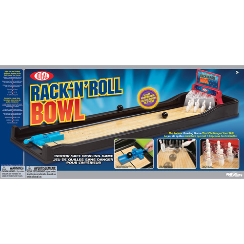 POOF-Slinky Ideal Rack 'N' Roll Bowling Game with Spring-Loaded Launcher and Automatic Ball Return, 5' Lane