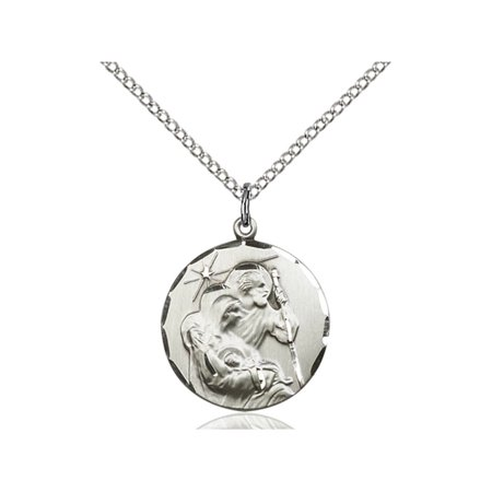 (Sterling Silver Holy Family Pendant 3/4 x 5/8 inches with Sterling Silver Lite Curb Chain)