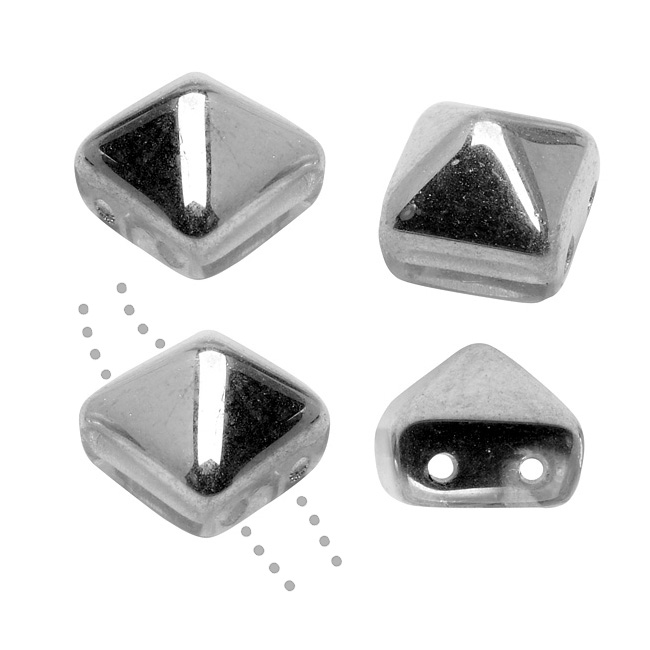 Czech Glass Beads, 2-Hole Pyramid Studs 8mm, 4 Pieces, Crystal Metallic Silver