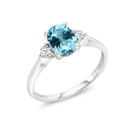 10K White Gold Ring Created Sapphire Set with Ice Blue Topaz from Swarovski