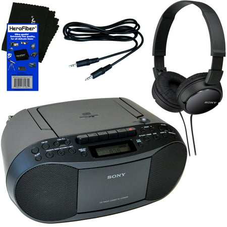 Sony Portable CD Player Boombox with AM/FM Radio & Cassette Tape Player + Sony Foldable Wired Stereo Headphones + Auxiliary Cable for Smartphones, MP3 Players & HeroFiber Ultra Gentle Cleaning Cloth (Cd Player Tape Player And Radio)