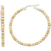 14kt Gold-, Rose Gold- and Rhodium-Plated Sterling Silver 30mm DC Beaded Hoop Earrings