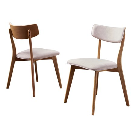 Caleb Mid Century Fabric Dining Chairs with Natural Oak Finished Frame, Set of 2, Light - Providence Oak Natural