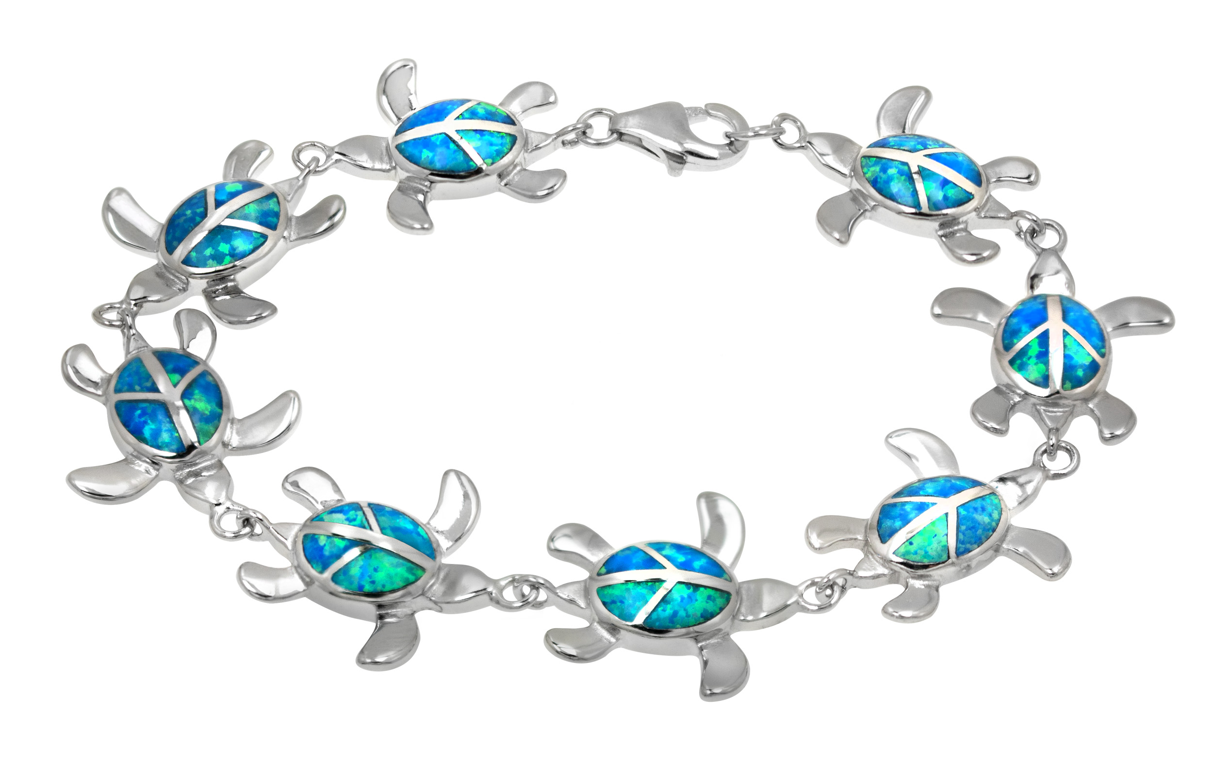 Sterling Silver Turtle with Peace Sign and Synthetic Blue Opal Bracelet by
