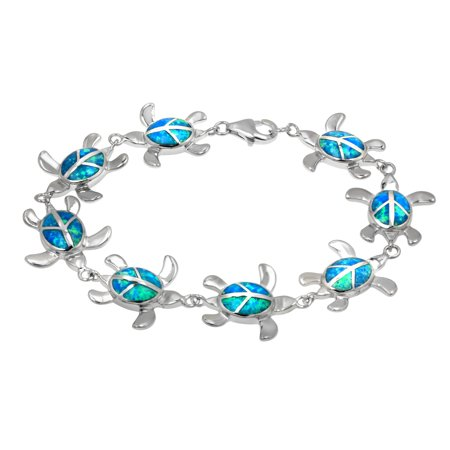 Sterling Silver Turtle with Peace Sign and Synthetic Blue Opal Bracelet