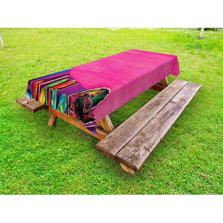 Mexican Outdoor Tablecloth, View of Folkloric Serape Blanket Charro and Music Instruments Cultural Elements, Decorative Washable Fabric Picnic Tablecloth, 58 X 120 Inches, Fuchsia Purple, by Ambesonne](Serape Tablecloth)