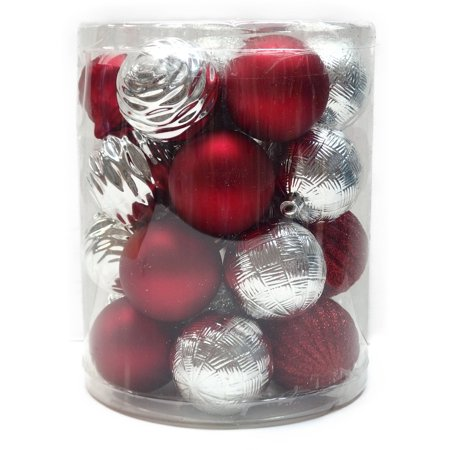 holiday time christmas ornaments red silver 60mm shatterproof ornament set of 26 - Red And Silver Christmas Decorations