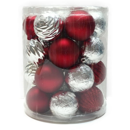 Holiday time christmas ornaments red silver 60mm for Red and silver christmas decorations