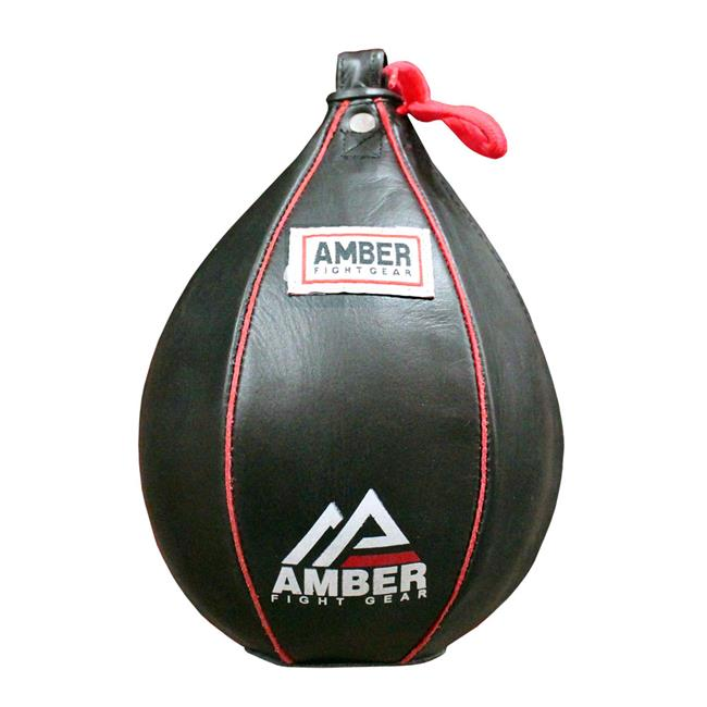 Amber Fight Gear Genuine Leather Speed Bag Heavy Duty Leather Hanging Punch Ball for MMA Muay Thai Training Punching Dodge Striking Bag Reflex Boxing Ball Size Large 7x11""