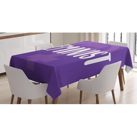 Symbol For Venus (Feminist Tablecloth, Feminist Hand-Drawn Lettering About Women and Girls with Venus Symbol, Rectangular Table Cover for Dining Room Kitchen, 60 X 84 Inches, Violet White and Purple, by)