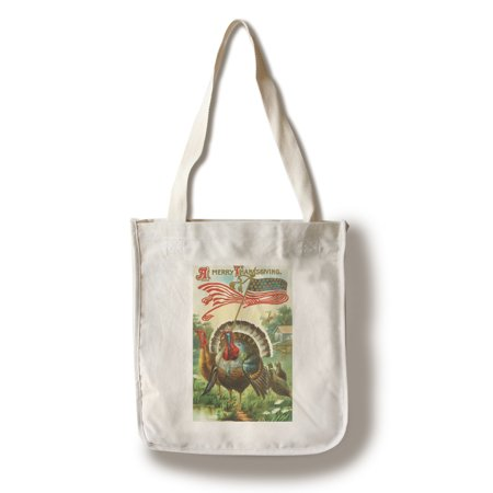 A Merry Thanksgiving Scene of Turkey Holding US Flag (100% Cotton Tote Bag - Reusable) (Thanksgiving Scenes)