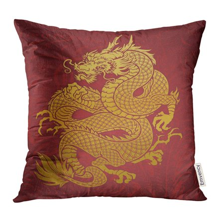 CMFUN Chinese Coiled Dragon Gold on Red Japanese Pillow Case 16x16 Inches Pillowcase