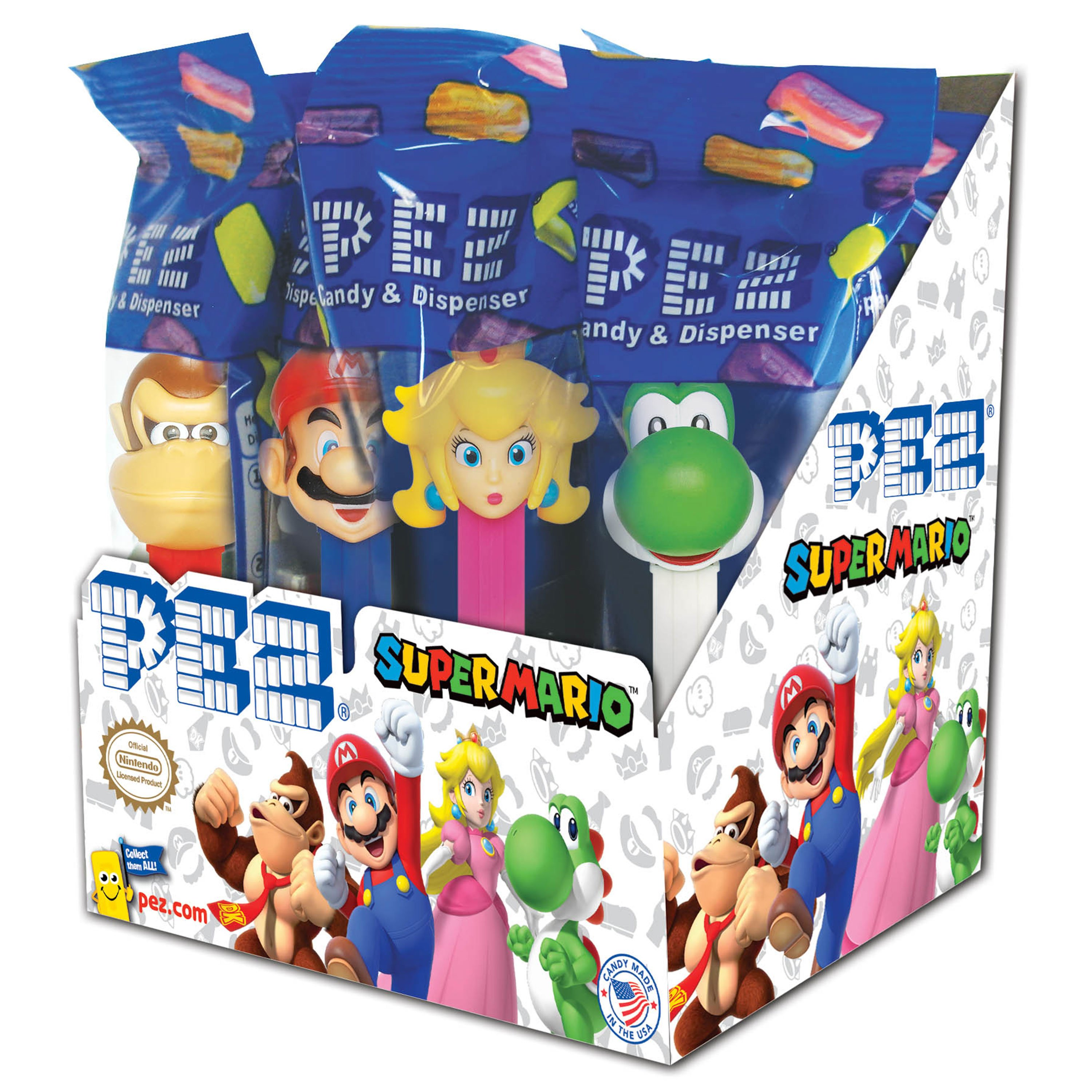 PEZ Candy Nintendo Assortment, candy dispenser plus 2 rolls of assorted fruit candy, box of 12