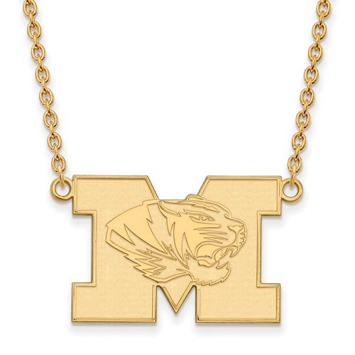 14k Yellow Gold LogoArt Official Licensed Collegiate 18in University of Missouri (Mizzou) Large Pendant w/Necklace