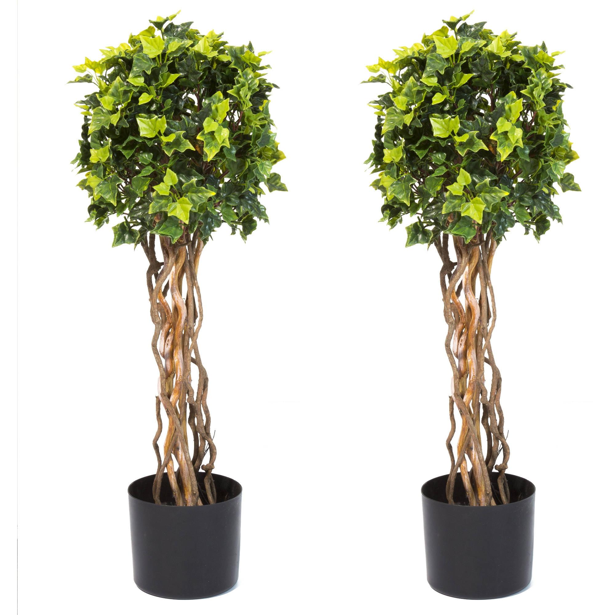 "Pure Garden 30"" English Ivy Single Ball Topiary Tree, Set of 2"