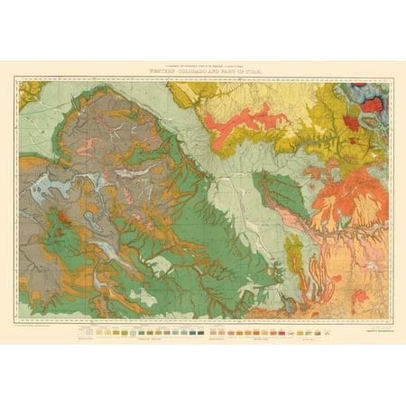 Topographical Map - West Colorado, Utah Economic - USGS 1881 - 23 x 32.84