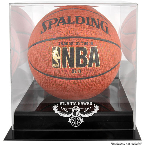 NBA - Atlanta Hawks Black Base Logo Basketball Display Case and Mirror Back