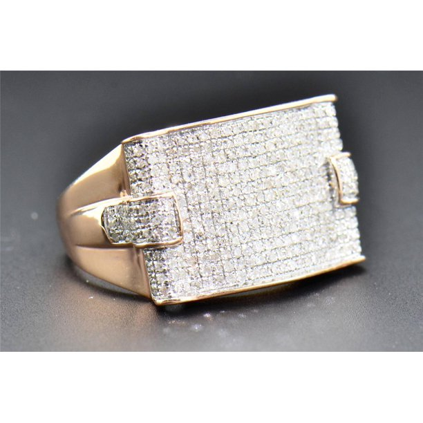 Diamond Pinky Ring Mens Square Flat Design 10K Rose Pink Gold Round Cut 1 CT