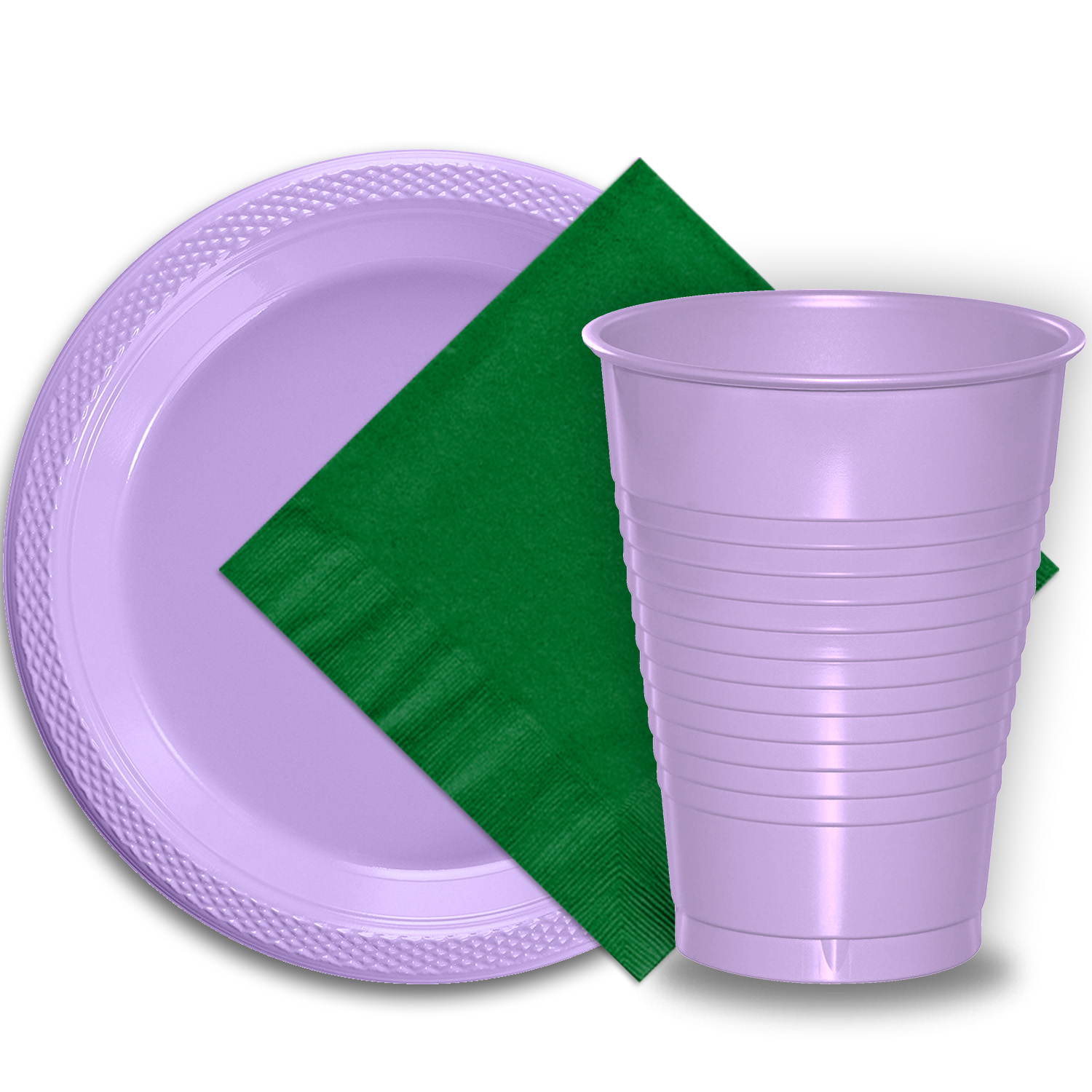 "50 Lavender Plastic Plates (9""), 50 Lavender Plastic Cups (12 oz.), and 50 Emerald Green Paper Napkins, Dazzelling Colored Disposable Party Supplies Tableware Set for Fifty Guests."