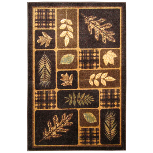 Brumlow Mills Rustic Leaves Chocolate & Natural Area Rug