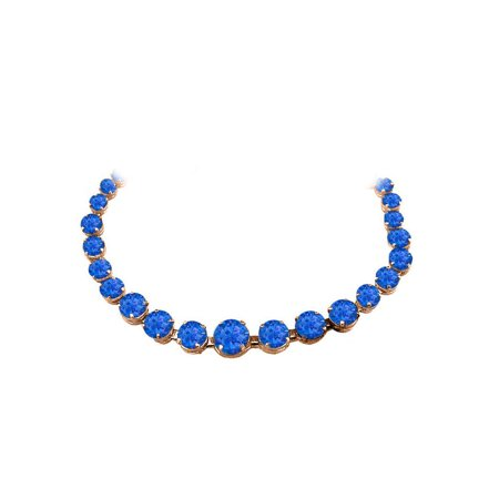 Sapphire Graduated Necklace in 14K Rose Gold Vermeil - image 2 of 2