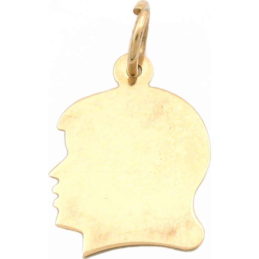 Girl Head Silhouette Charm 14K Gold 17.5mm