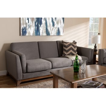 Baxton Studio Sava Grey Fabric Upholstered Walnut Wood 3-Seater Sofa