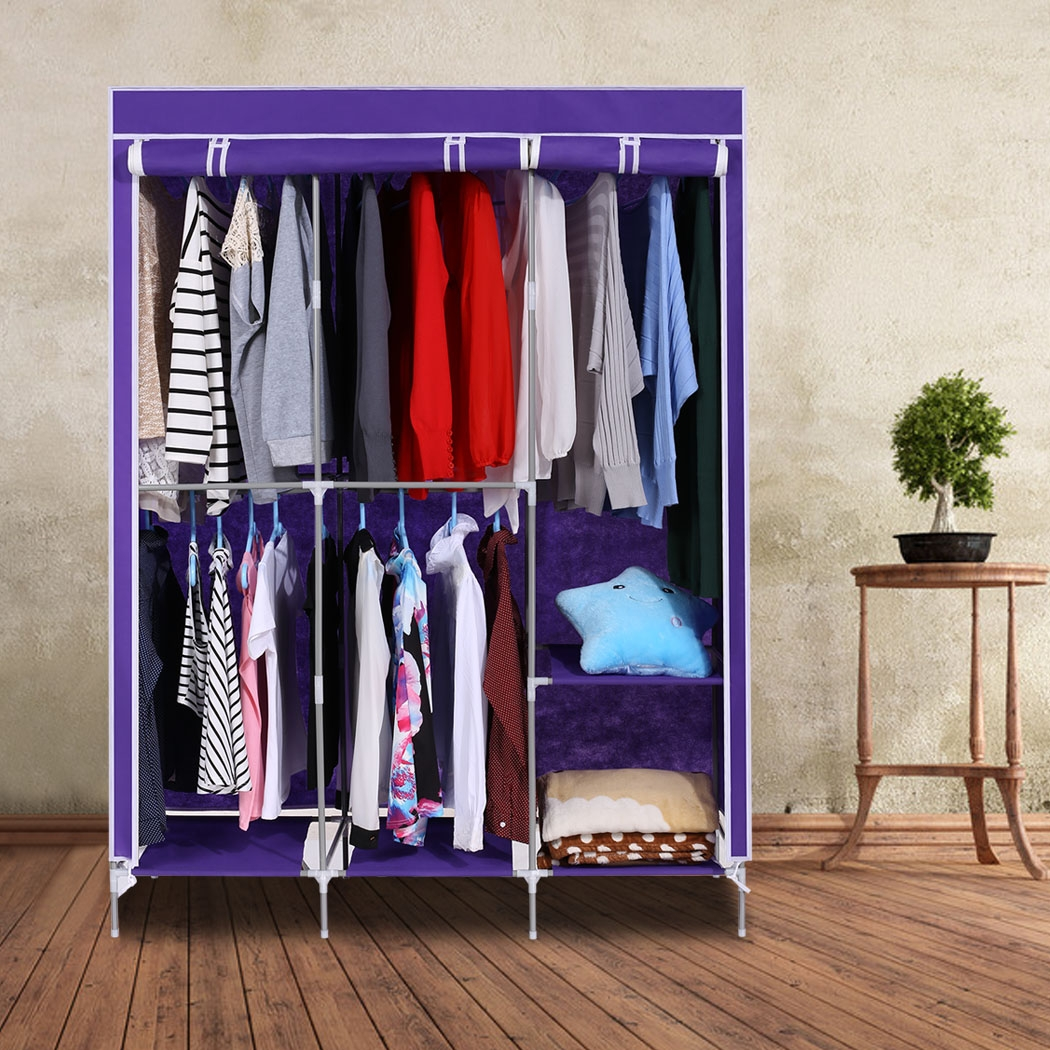 home portable closet organizer storage wardrobe clothes rack with hanger dark purple - Clothes Hanger Rack
