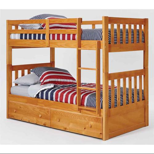 Chelsea Home Furniture 36TT700-S Twin Over Mission Bunk Bed with Under Bed Storage & Ladder