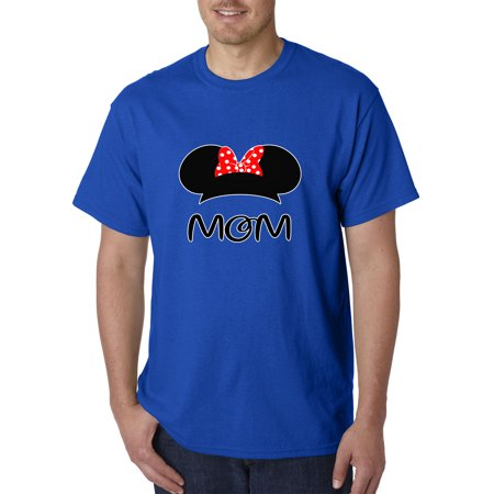 Trendy USA 1148 - Unisex T-Shirt Mom Mother Minnie Ears Polka Dot Bow XL Royal Blue ()