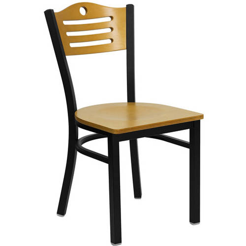 Flash Furniture Cut Out Back Chairs - Set of 2, Black Metal / Natural Wood