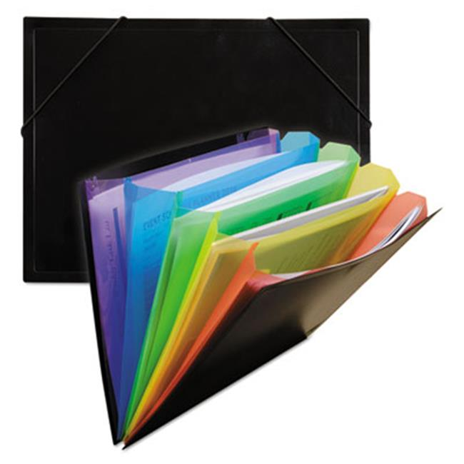 C-Line Products 59011 5 in. Expansion Rainbow Document Sorter-Case, 5-Pocket, Letter, Black & Multicolor