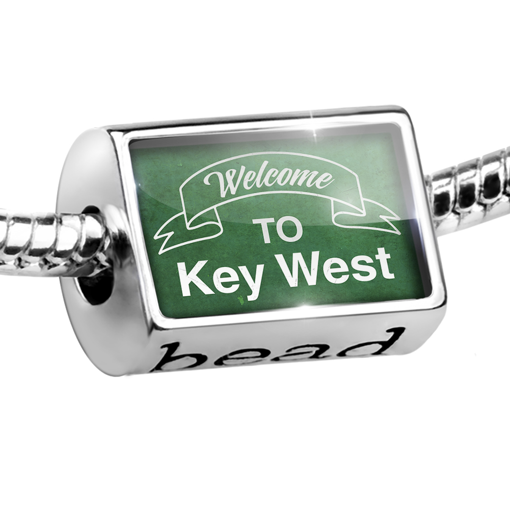 Bead Green Sign Welcome To Key West Charm Fits All European Bracelets