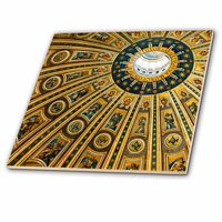 3dRose Vatican City, Italy, Ceiling of Dome, St. Peters Basilica - Ceramic Tile, 8-inch