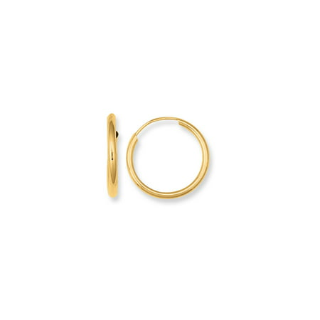 10K Yellow Gold Shiny Small Endless Round Tube Hoop Earrings 1x15mm