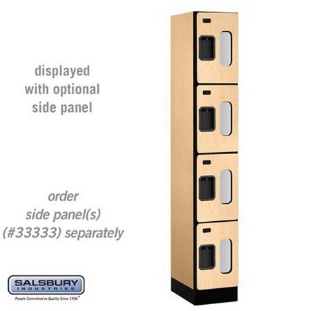 Salsbury S-34168MAP See-Through Designer Wood Locker - Four Tier - 1 Wide - 6 Feet High - 18 Inches Deep - Maple 18 Inch See Through Log