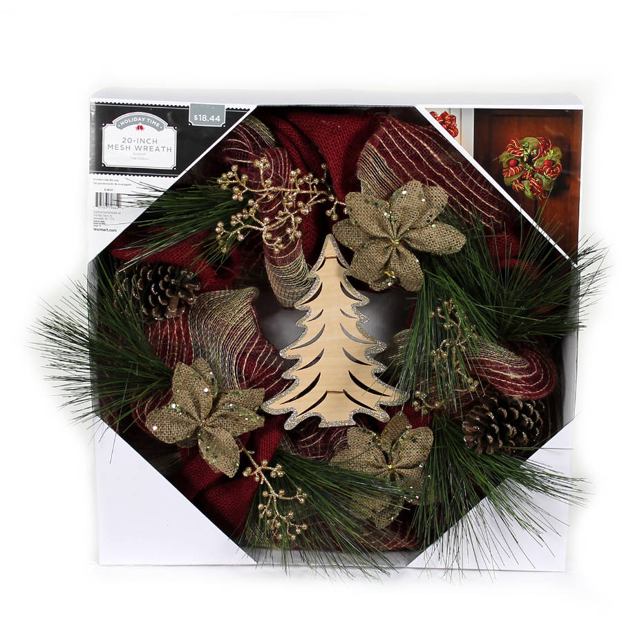 """Holiday Time 20"""" Natural Mesh Wreath with Tree Accent"""