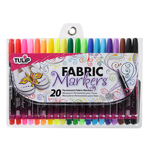 Tulip Fabric Markers, Multi-Colored, Fine, 20pk