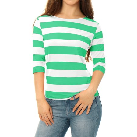 Women Boat Neck Half Sleeves Slim Fit Striped Tee Blue XS