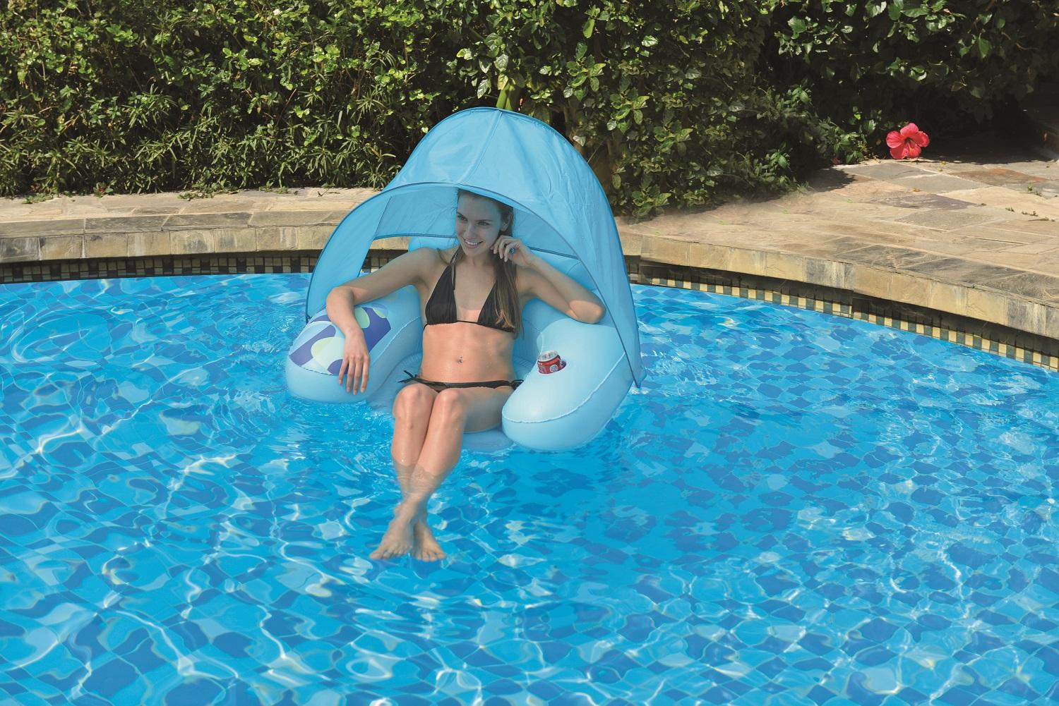 """40.5"""" Blue Inflatable Swimming Pool Water Sofa Lounge Chair with Shade Canopy by Pool Central"""