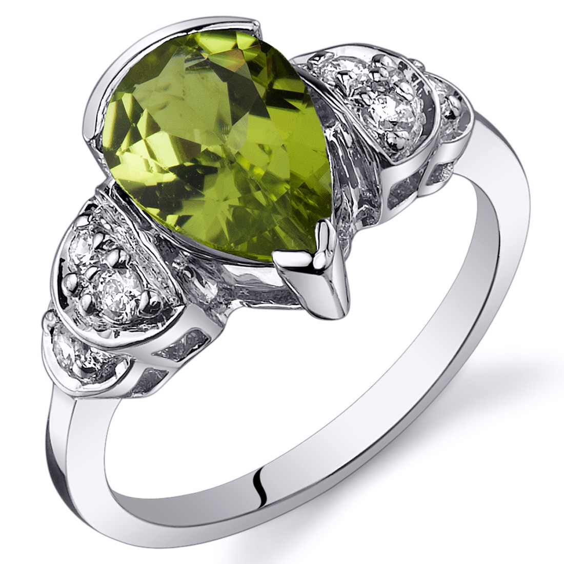 Peora 1.75 Ct Peridot Engagement Ring in Rhodium-Plated S...